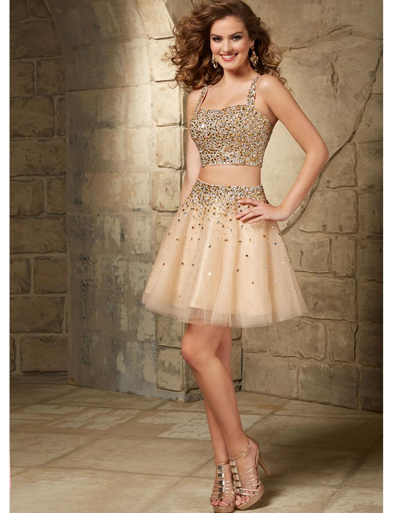 Two 2 Pieces Champagne Black Cocktail Dress Sequin Sparkly Beading ...