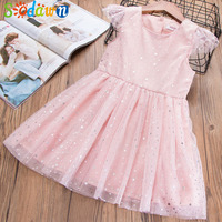 Sodawn 2018 Summer 2 Color Gold Five Pointed Star Printing Fly Sleeve Girl Dress Children S