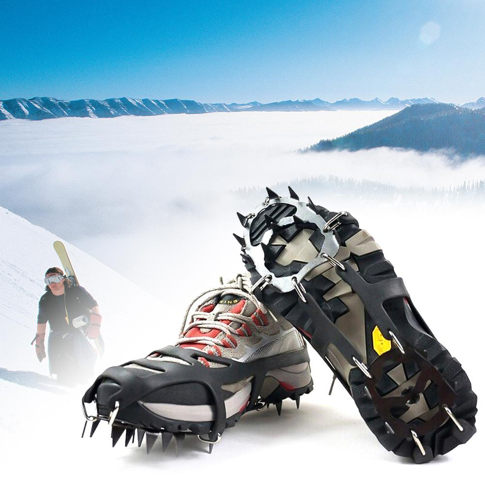 1 Pair 18 Teeth Anti-Slip Ice Snow Grips Shoe Boot Traction Cleat Spikes Crampon