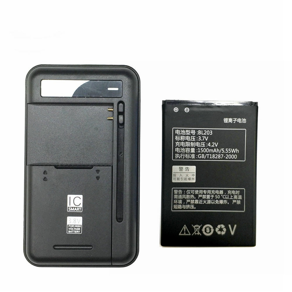 1PCS Universal battery Charger + 1PCS 1500mAh BL203 Battery for Lenovo A278T A365E A308T A369 A66 A318T A385E image