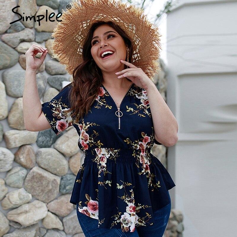 Simplee Bohemian floral print plus size women   blouse     shirt   V-neck elastic high waist tops female Summer casual chiffon   blouse