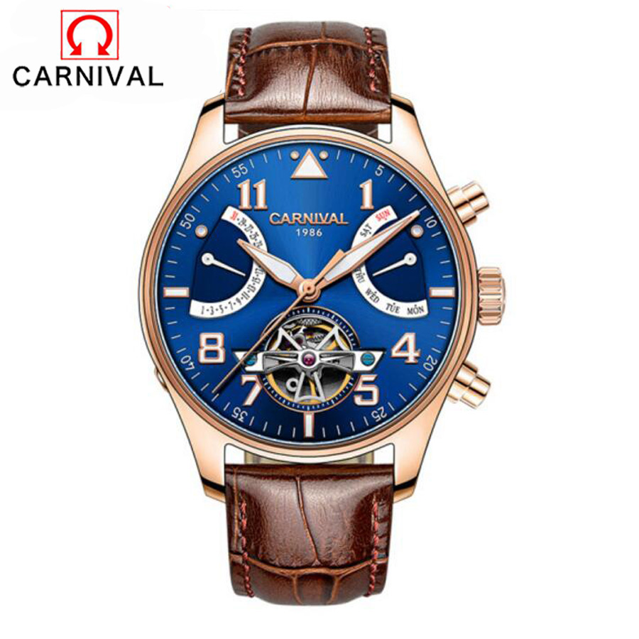 Relogio Masculino Carnivl Tourbillon Mens Watches Top Brand Luxury Waterproof 100M Men Watch Automatic Mechanical Leather Clock forsining automatic tourbillon men watch roman numerals with diamonds mechanical watches relogio automatico masculino mens clock
