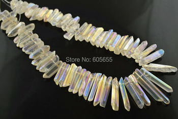 Graduated AB Plating Natural Rock Crystal Point Stick Spike Loose Beads 5 strands per lot Free shipping fit Necklace making