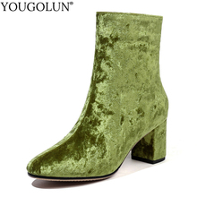 Flock Ankle Boots Women Autumn Winter Woman Square Mid Heels A302 Fashion Ladies Black Green Purple Brown Pointed Toe Shoes все цены