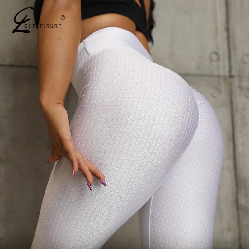CHRLEISURE Sexy Push Up Women Leggings Solid High Waist Workout Leggings Female  Wrinkle Legging Women