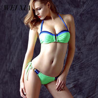 Christmas Gift Sale WEIXIA Push Up Bra Bikini Simple Design Brazilian Girls Swimwear Swimsuit