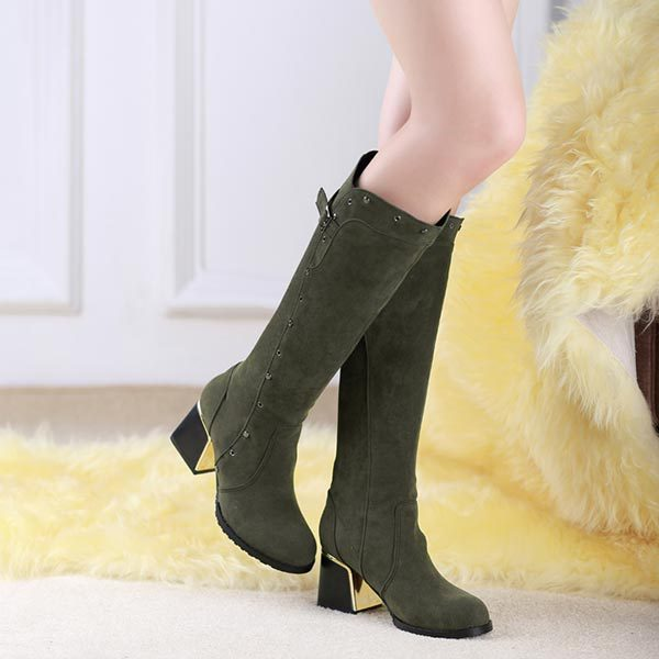 ФОТО Large size EUR 34-49 US 4-18 Fashion New Sexy Suede Knee High Boots Pointed Toe women chunky heel shoes Vintage riding boots