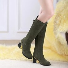 Large size EUR 34-49 US 4-18 Fashion New Sexy Suede Knee High Boots Pointed Toe women chunky heel shoes Vintage riding boots