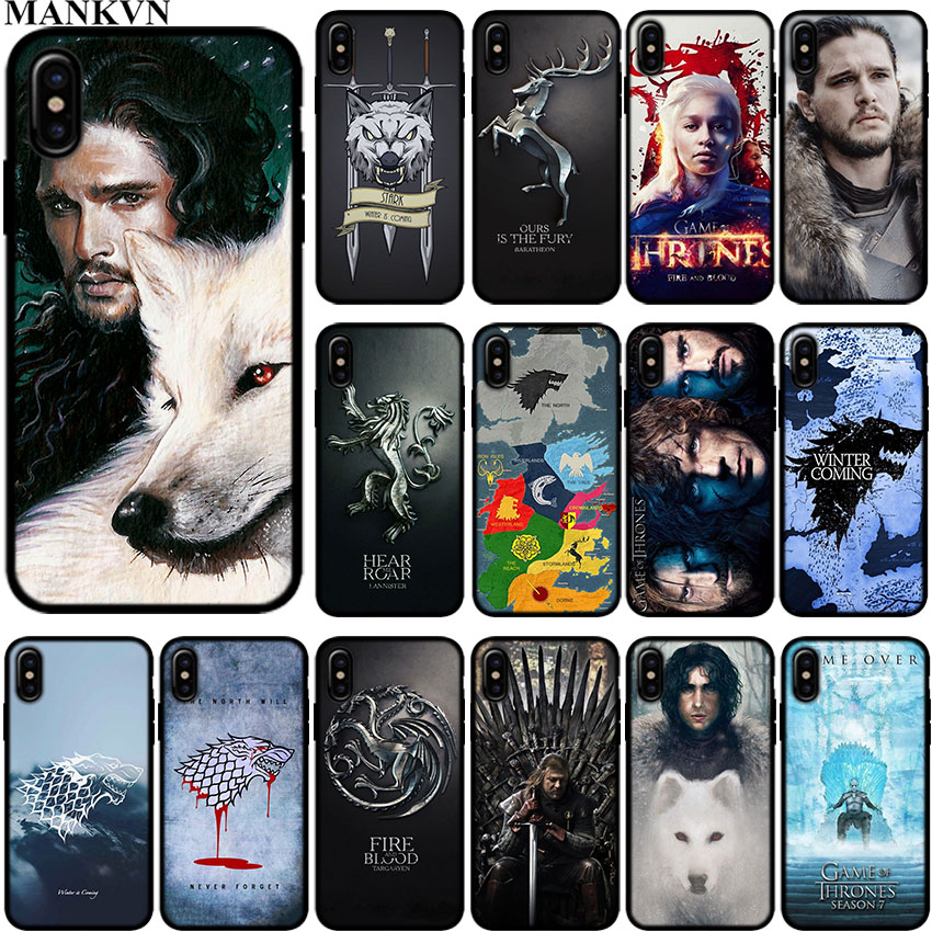 Jon snow games of thrones Black Silicone phone Cases for Apple ...