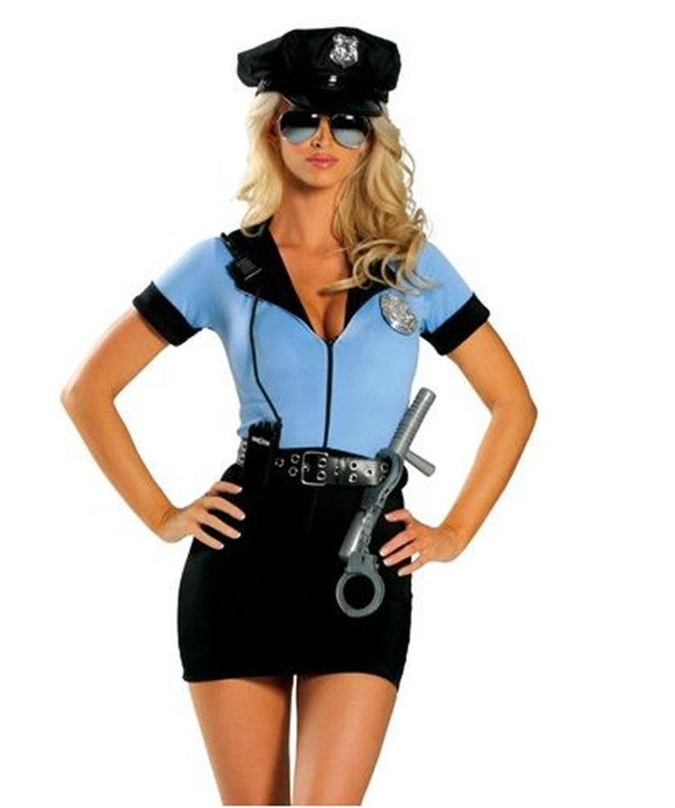 Blue Sexy Police Woman Costume Adult Policewoman Cop Cosplay Uniform-In Sexy Costumes -8030