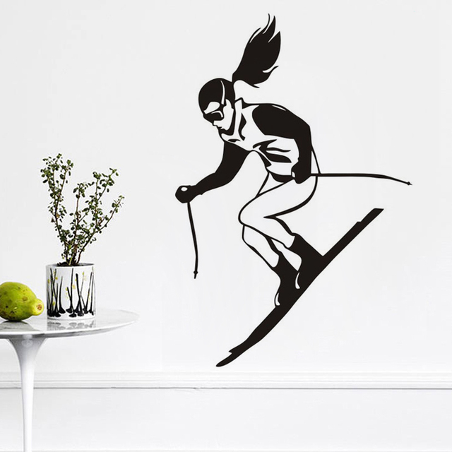 A girl skiing wall stickers for kids rooms winter sport skier racing wall decals vinyl removable