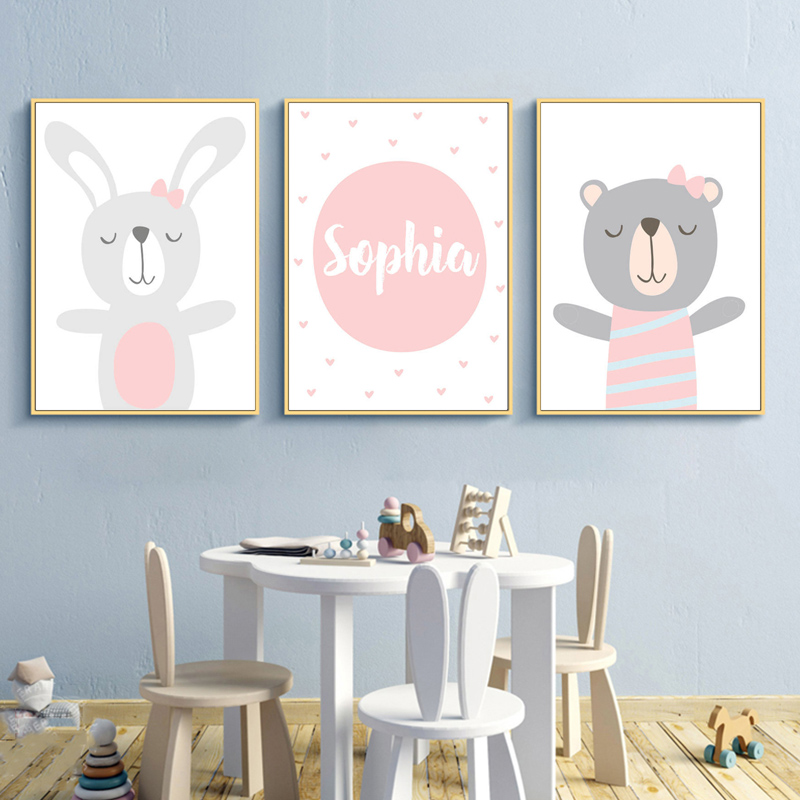 Cartoon Rabbit Bear nursery Wall Artwork Canvas Portray Nordic Posters And Prints Animal Wall Footage Child Children Room Residence Decor Portray & Calligraphy, Low cost Portray & Calligraphy, Cartoon...