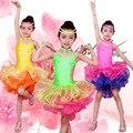 Cor brilhante Performance de Palco Trajes Meninas Roupas de Dança Latina Trajes de Lantejoulas Vestido De Crianças Vestidos de Salsa Latina Samba Dança