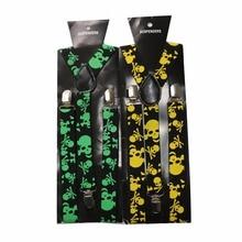Winfox Vintage 2.5cm Wide Black Yellow Skull Suspenders Men Women Hip Hop Adjustable Braces