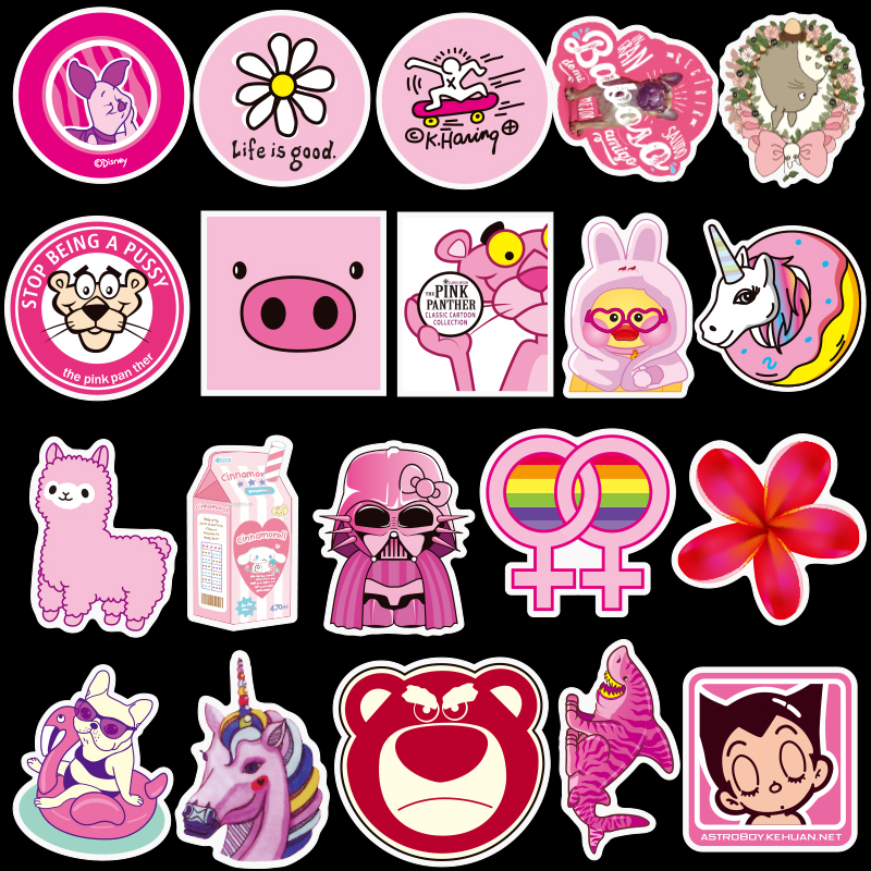 100pcs pack PVC Waterproof Pink Girls Fun Sticker toys for children For Moto Car Suitcase Cool Fashion Laptop stickers in Stickers from Toys Hobbies