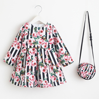 Girls Dress Unicorn Party Children Clothing Princess Dress With Bag 2018 Baby Clothes Kids Flower Dresses