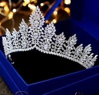 Paved Zircon Crown For Bride Zirconia Tiara De Noiva Wedding Hair Accessories Bridal Tiaras and Crowns Diadem Corona CZ WIGO1352