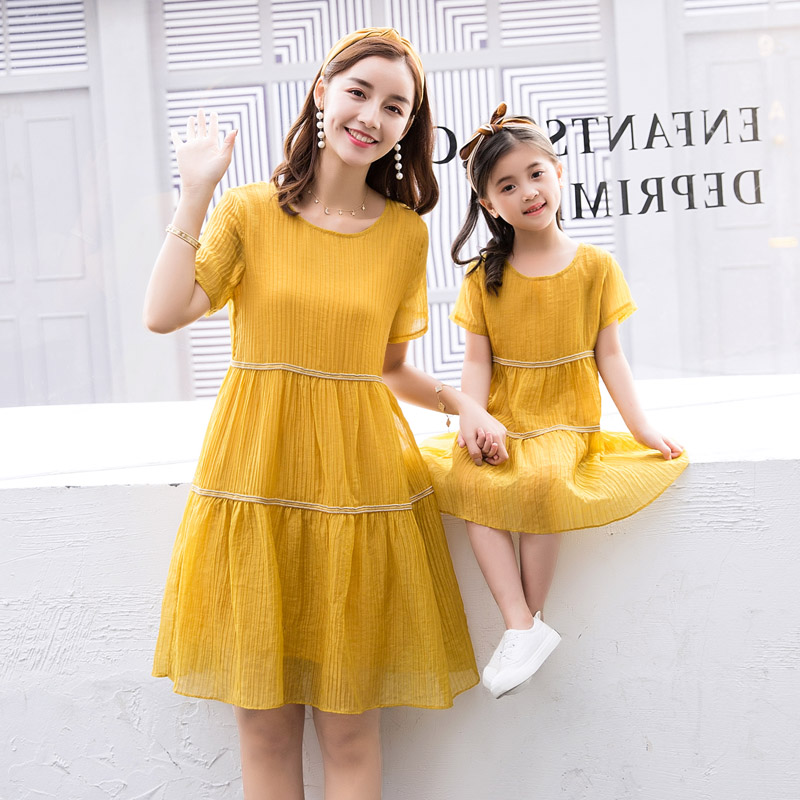 2018 Quality Daughter Mother Dress A Line Knee Length New Family Matching Dress Mom Daughter Clothing Summer A Line Slim Dress scalloped a line cocktail dress