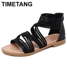 TIMETANG Summer Shoes Woman Sandals Cage Strap Sandalias Mujer 2019 Open Toe Flat Shoes For Women Gladiator Sandals PlusSizeE454(China)