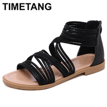 TIMETANG Summer Shoes Woman Sandals Cage Strap Sandalias Mujer 2019 Open Toe Flat Shoes For Women Gladiator Sandals PlusSizeE454