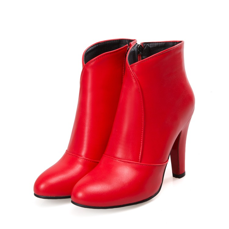 Mujer Cheville 622 rouge Pour De Chaussures Mode blanc Boucle Bout Automne Sexy Bottes Talons Casual Neige Noir Hiver Femmes Rond Zip 5 Nouvelle wPX0n8Ok