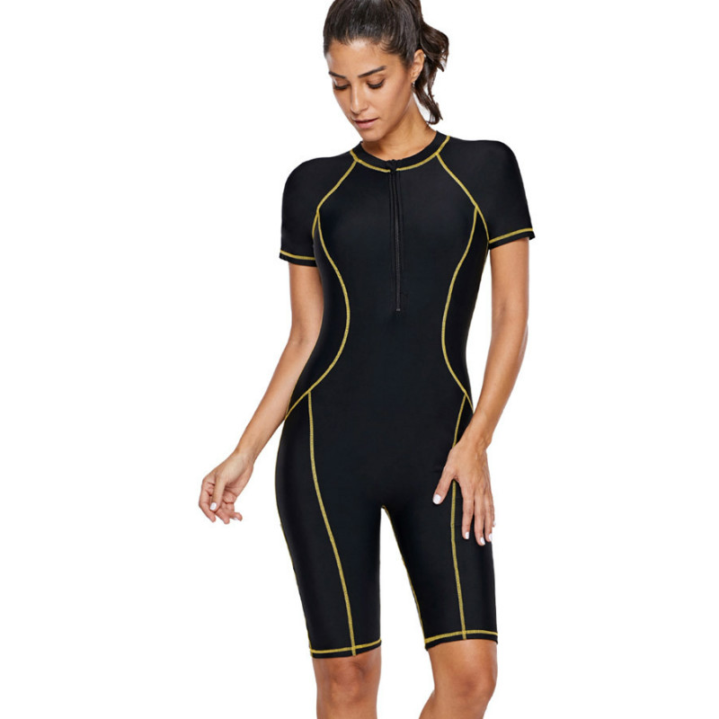 Women's professional one-piece diving suit sunscreen diving suit swimsuit short-sleeved waterproof mother water sports suit