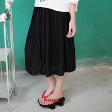 LYNETTE'S CHINOISERIE 2016 Summer New Arrival Original Design Women High Quality Vintage Mori Girls Pleated Black Chiffon Skirt