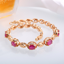 Robira 18K Rose Gold Color Chain Link Bracelets for Women Ladies Shining Natural Ruby and Diamond Fine Jewelry Gift