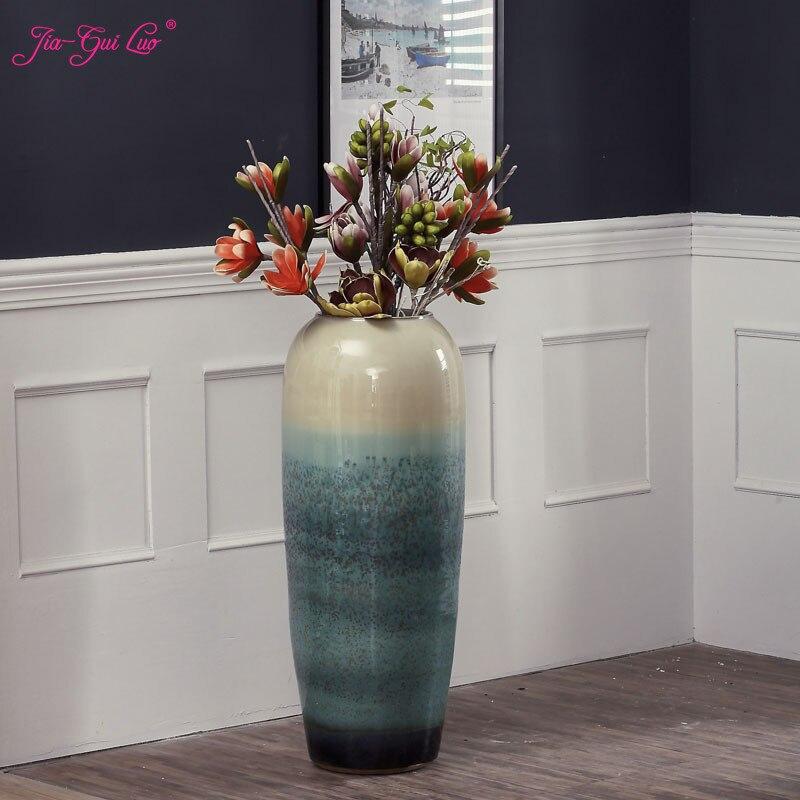 Européen Jingdezhen plancher en céramique grand vase poterie moderne mode salon hôtel villa fleur arrangement