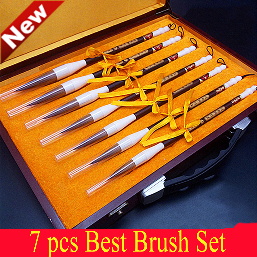 7pcs/box Chinese Calligraphy Brushes pen set weasel hair brush for artist painting calligraphy best gift box for art supplies chinese calligraphy brushes pen with weasel hair art painting supplies artist painting calligraphy pen