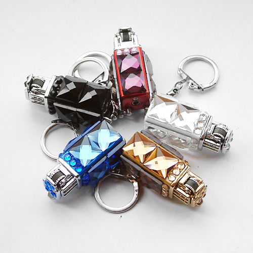 Sparkling glass diamond key ring belt personalized women s open flame  lighter girls gift inflatable 154c812471