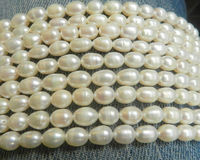 Wholesale 5 Strand 6 7mm White Freshwater Pearl Rice Beads String 15inchs