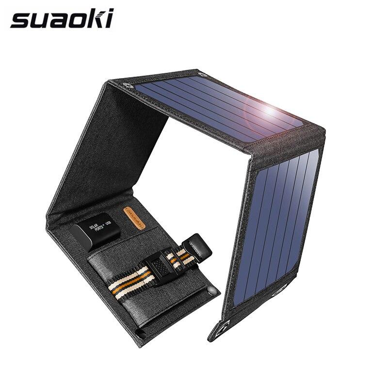 Suaoki 14W luz Solar celdas cargador 5V 2.1A dispositivos de salida USB paneles solares portátiles para teléfonos inteligentes portátil tabletas al aire libre