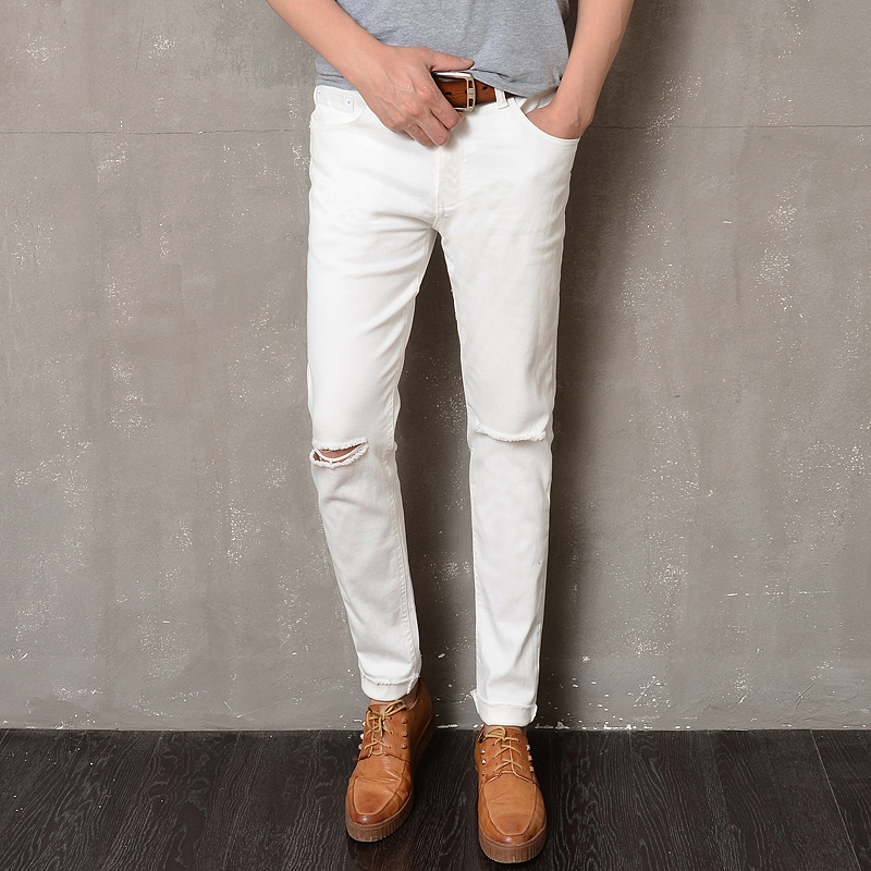 New autumn 2017 high-quality goods cotton Hole slim Men's leisure fashion jeans pants / Male casual jeans trousers white black