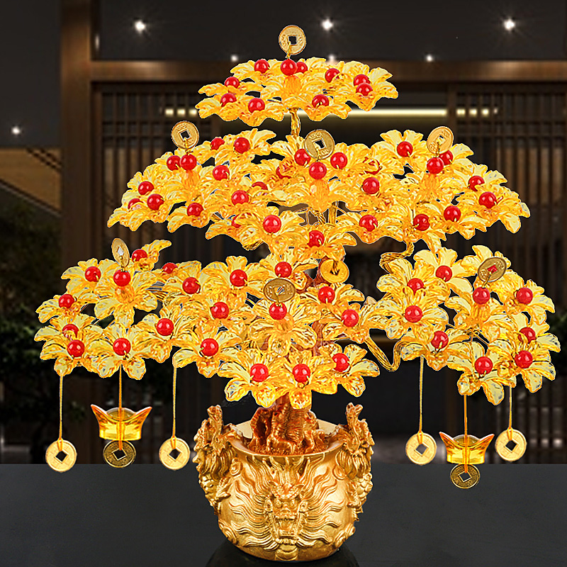 Feng Shui Money Lucky Rich Tree Craft Natural Crystal Office Creative Home Room Decor