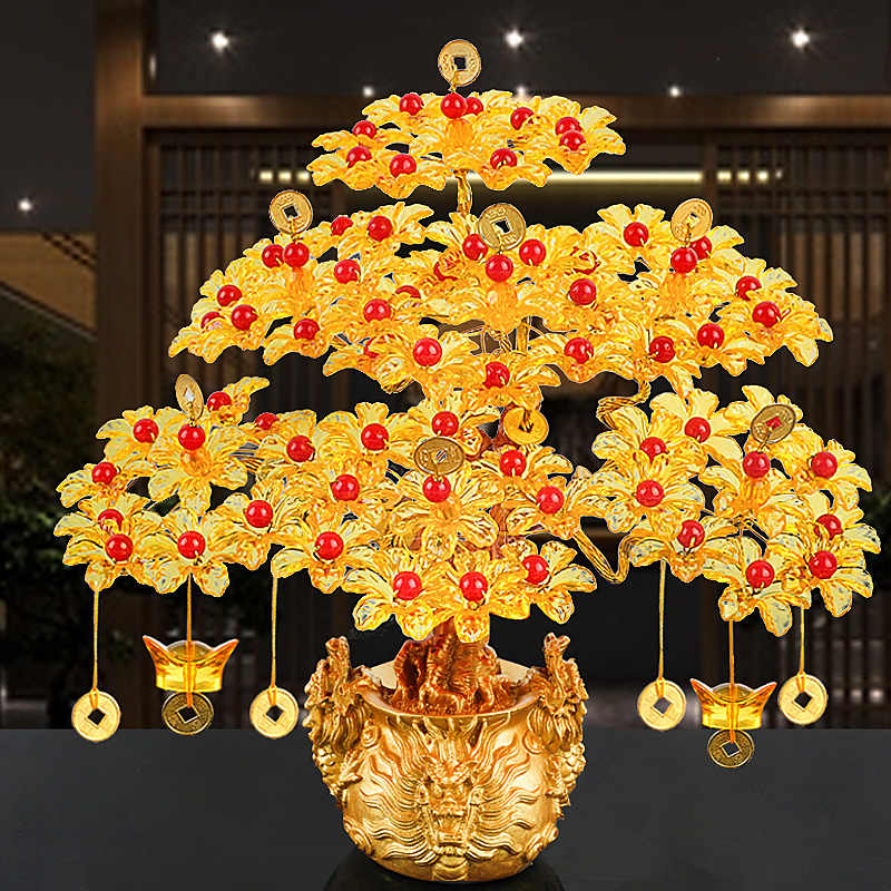 Feng Shui Money Lucky Rich Tree Craft คริสตัลสำนักงาน Home Room Decor