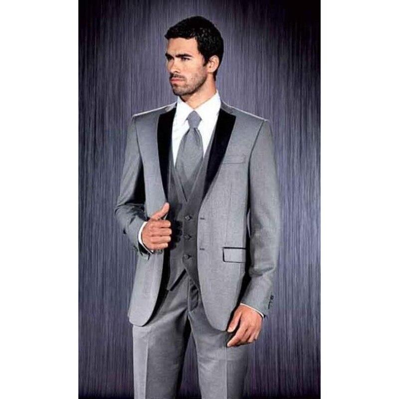 2017 le matin marié robes écart revers meilleur hommes costume terno masculino hommes de manteau mince pantalon mens costumes (veste + pantalon + cravate + gilet)