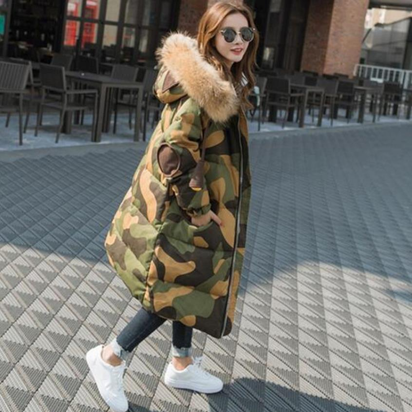 More than 1.5kg big natural fur hooded 90% duck   down   parkas winter super thicker warm Camouflage   down     coat   wq486 fit -30 cold