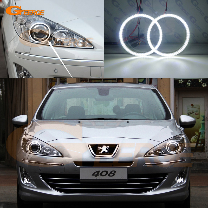 For Peugeot 408 2010 2011 2012 2013 projector headlight smd led Angel Eyes kit Day Light Excellent Ultra bright illumination DRL 2011 2013 peugeo 408 headlight 408 fit for lhd and rhd free ship 408 fog light 2ps set 2pcs aozoom ballast peugeo408