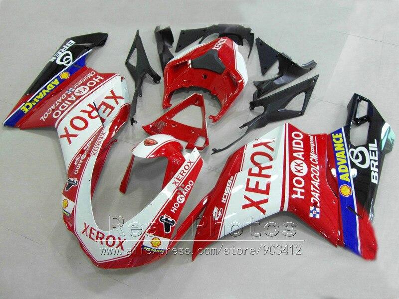 Carroçaria kit carenagem de plástico ABS para Ducati 848 1098 1198 07 08 09 10 11 preto branco vermelho fairings set 848 1198 2007-2011 AS31