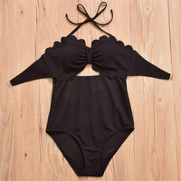 One Piece Swimsuit Women High Waist Swimwear Sexy Halter Design High Quanlity Fabric Solid Bathing Suit