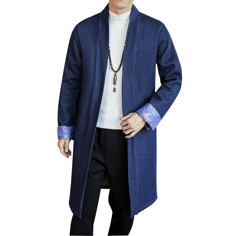 Men Winter Thick Lambswool Fleece Denim Trench Coat China Style Casual Long Cardigan Coat Male Loose Jean Windbreaker Overcoat