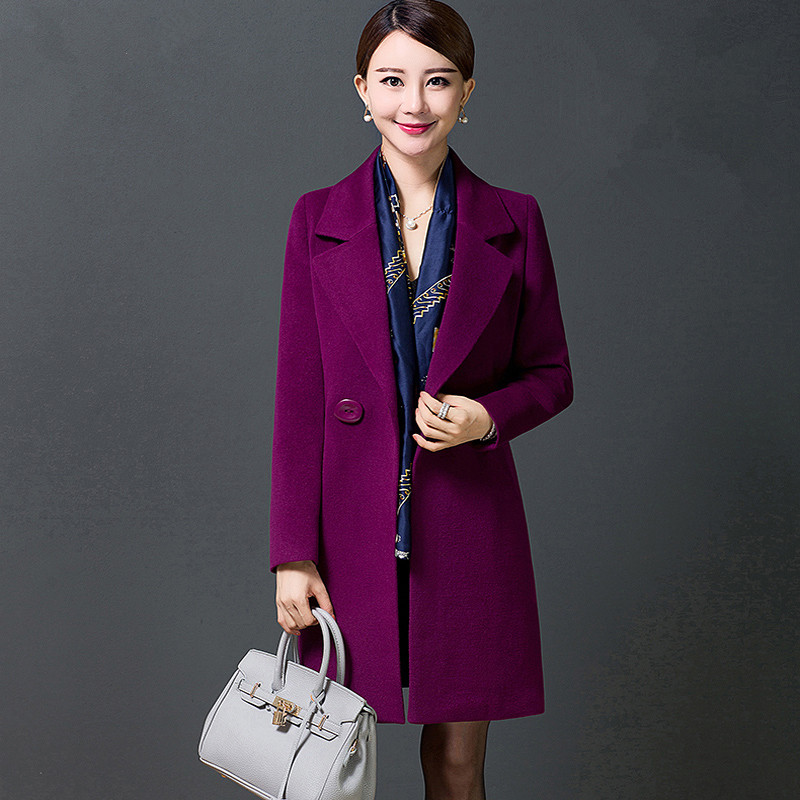Spring In the long section Self cultivation Large size Woolen font b jacket b font