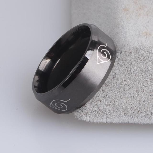 8mm brushed Naruto Konoha sign 316L Stainless Steel finger rings for men  women