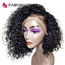 Fabwigs 13x4 Malaysian Curly Bob Wig Lace Front Human Hair Wigs 180% Density Short Human Hair Wigs for Women Remy Hair(China)