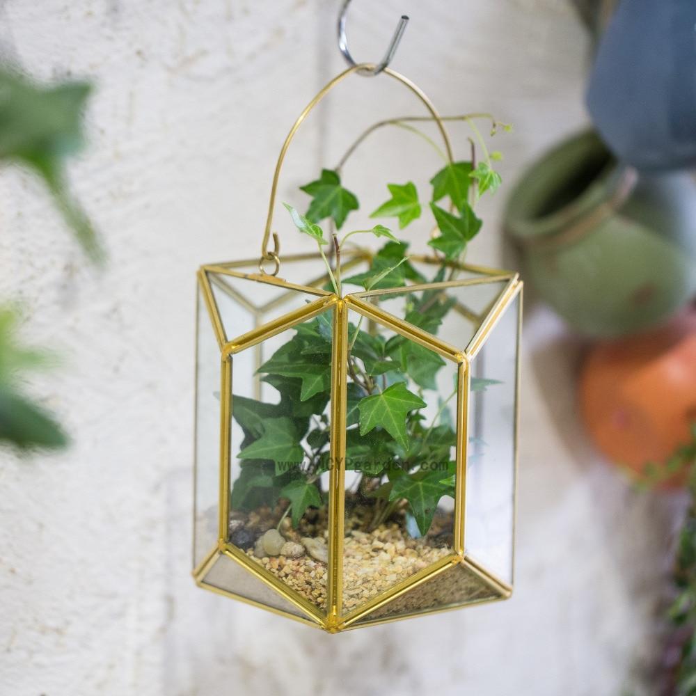 Σύγχρονη τοίχο Hanging Γεωμετρική Γυαλί Terrarium Φανάρι Tabletop Succulent Φυτό Hanging Λουλούδι Λουλούδι Planter Ποτ χρυσό Holder