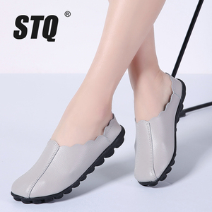 Image 1 - STQ 2020 Autumn Women Flats Shoes Women Genuine Leather Shoes Woman Lazy Loafers Slip On Ballet Flats Ballerines Flats 982
