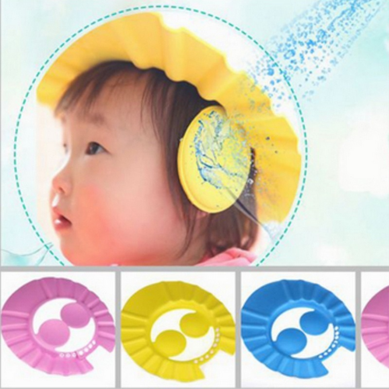 Adjustable Baby Kids Shampoo Shower Bathing Bath Protect Ear Wash Hair Cap  Hat For Kid Baby Shower Cap Candy Color Multicolor