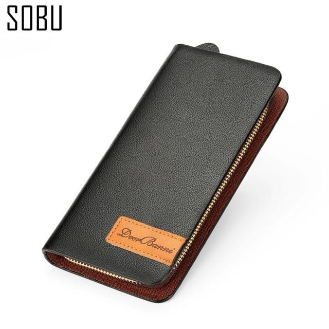 2016 New Zipper Black Long Wallets Men Bag Leather Wallet Purse Luxury Brands Design Leather Pu Men Wallets Business N080