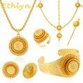 Ethlyn Etíope de la boda cadena de joyería 24 k Oro verdadero plateado mujeres joyería del pelo/palillo del pelo/colgante/brazalete/pendientes/anillos